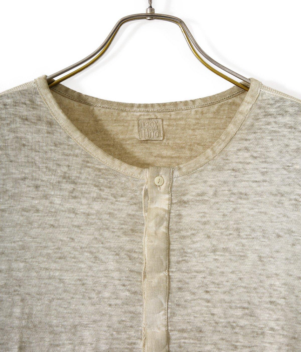 LINEN HENLEY NECK L/S SHIRTS