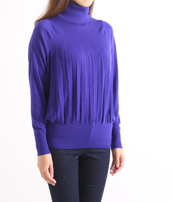 Turtle neck Pleats knit-BLUE-