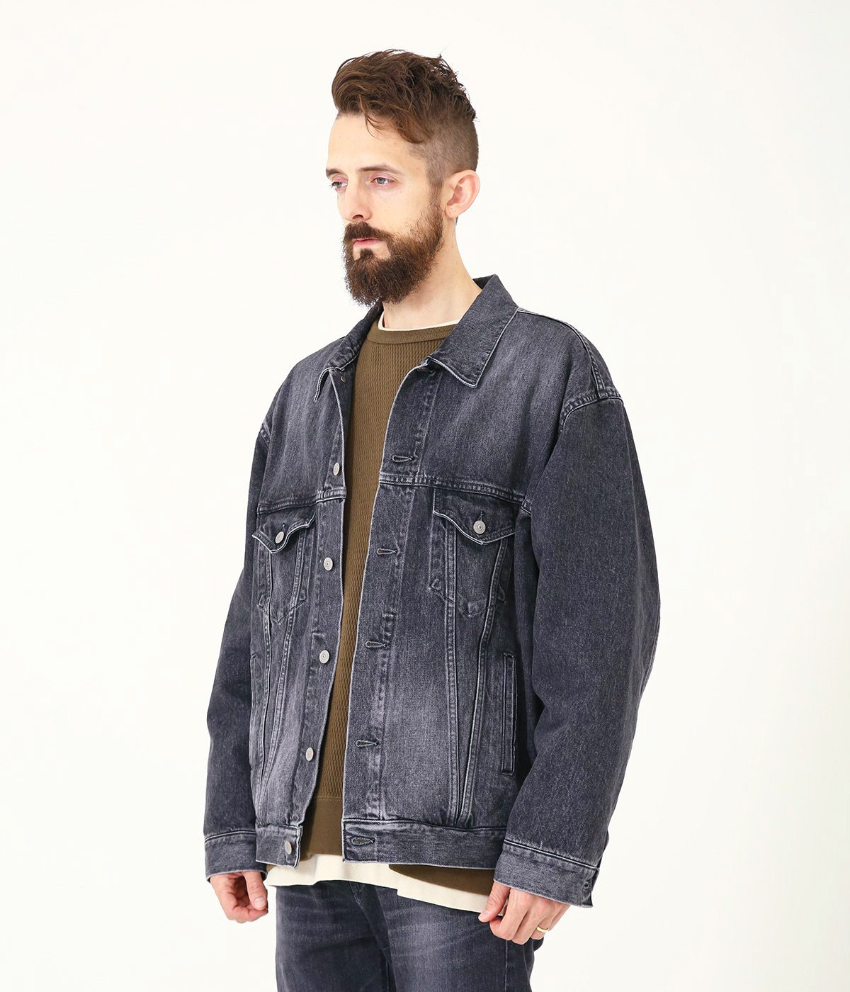 14oz. DENIM JACKET HARD WASHED