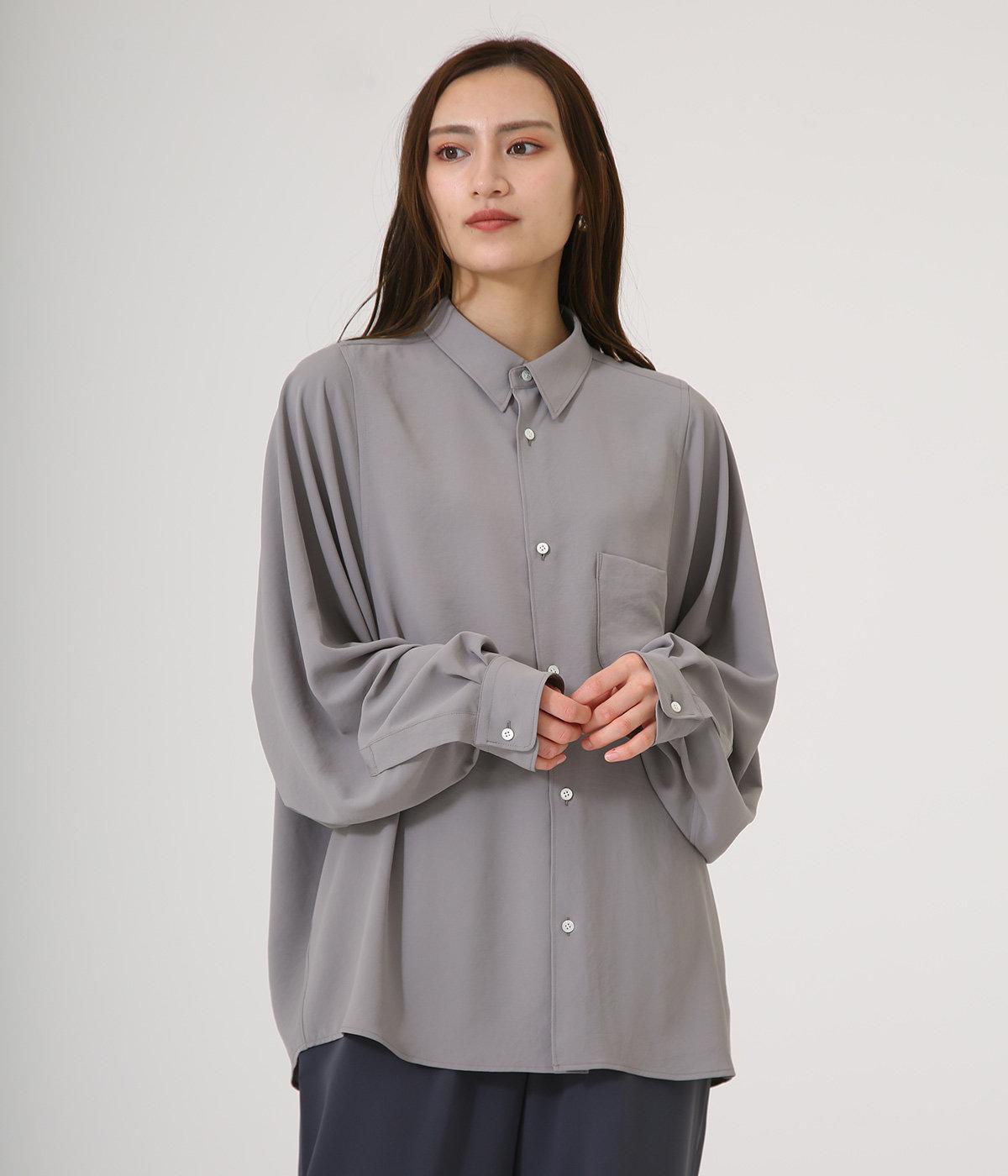 【レディース】Matte Satin Regular Collar Big Sleeve Shirt