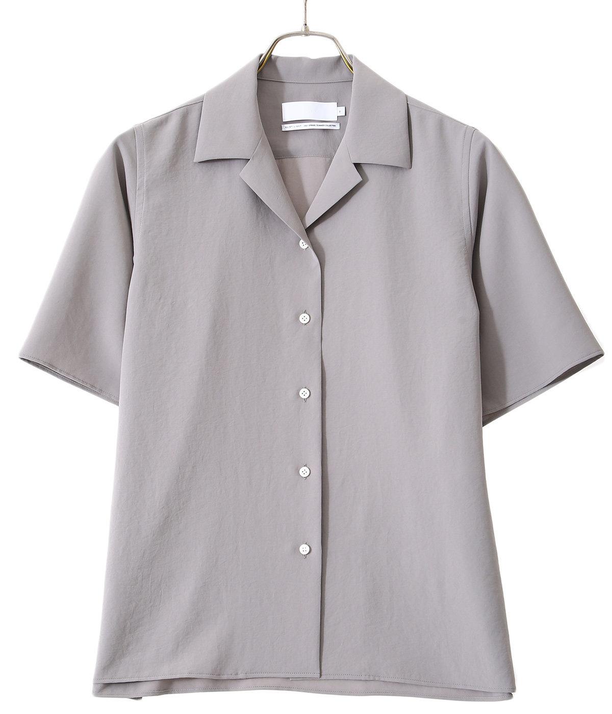 【レディース】Matte Satin Open Collar Shirt