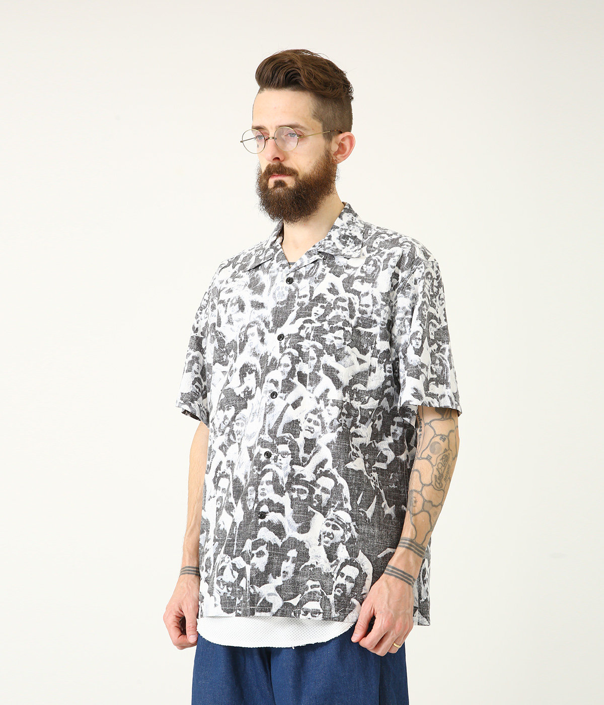 "SLUB COTTON BROAD S/S OPEN SHIRT ""WOODSTOCK"""