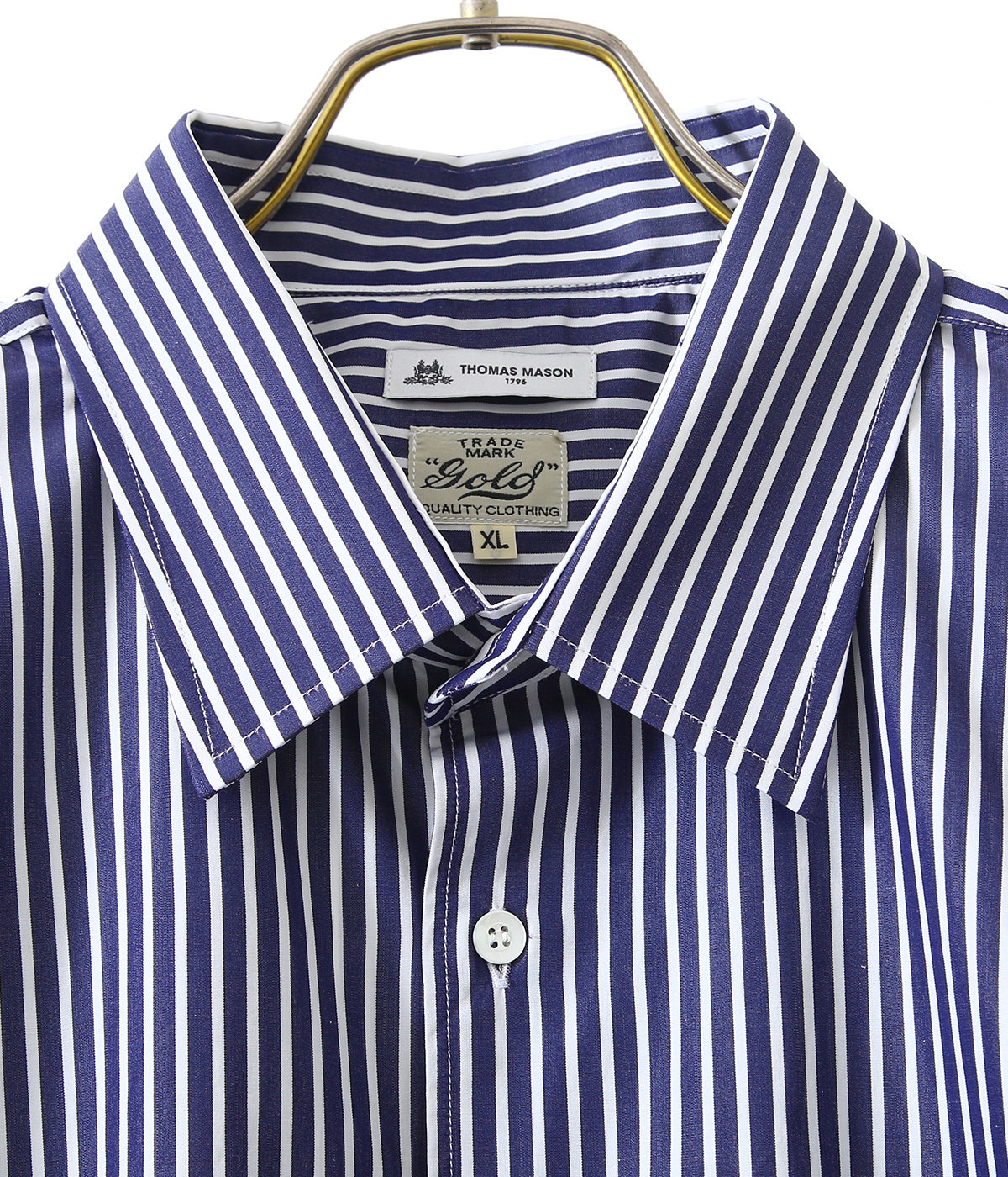 120/2 BROAD STRIPE REGULAR COLLAR S/S BIG SHIRT