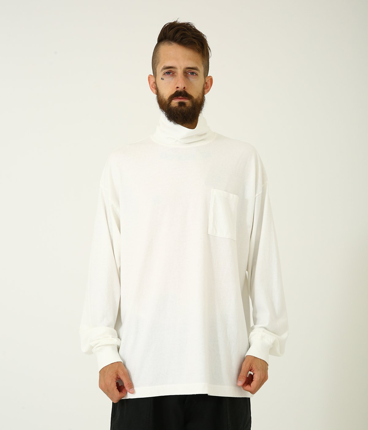 16/- COTTON PEACH BRUSHED OFF-TURTLE NECK L/S T-SHIRT
