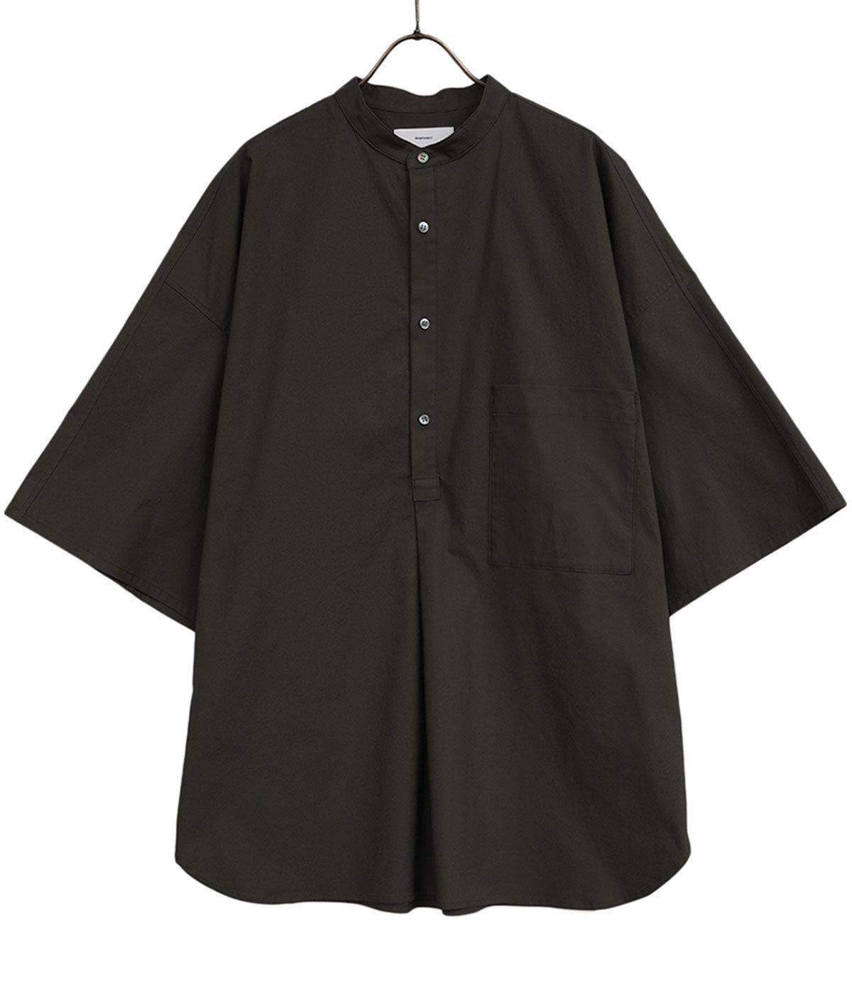 Stretch Typewriter Stand Collar Short Yoke Sleeve Shirt