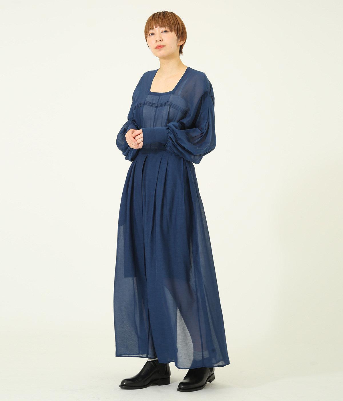 【レディース】シルクコットンスクエアネックドレス