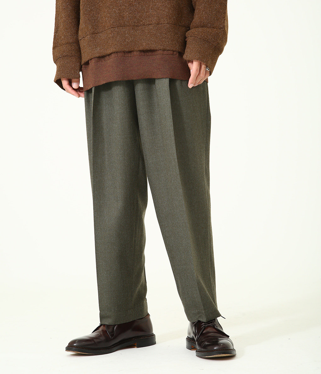 3TUCK TAPERED FIT EASY - wool soft serge -