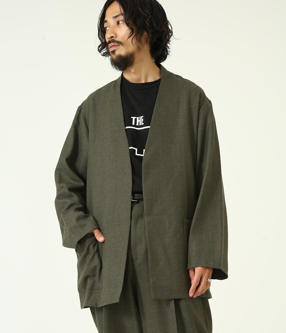 【予約】LAPELLESS SHIRT JACKET - wool soft serge -