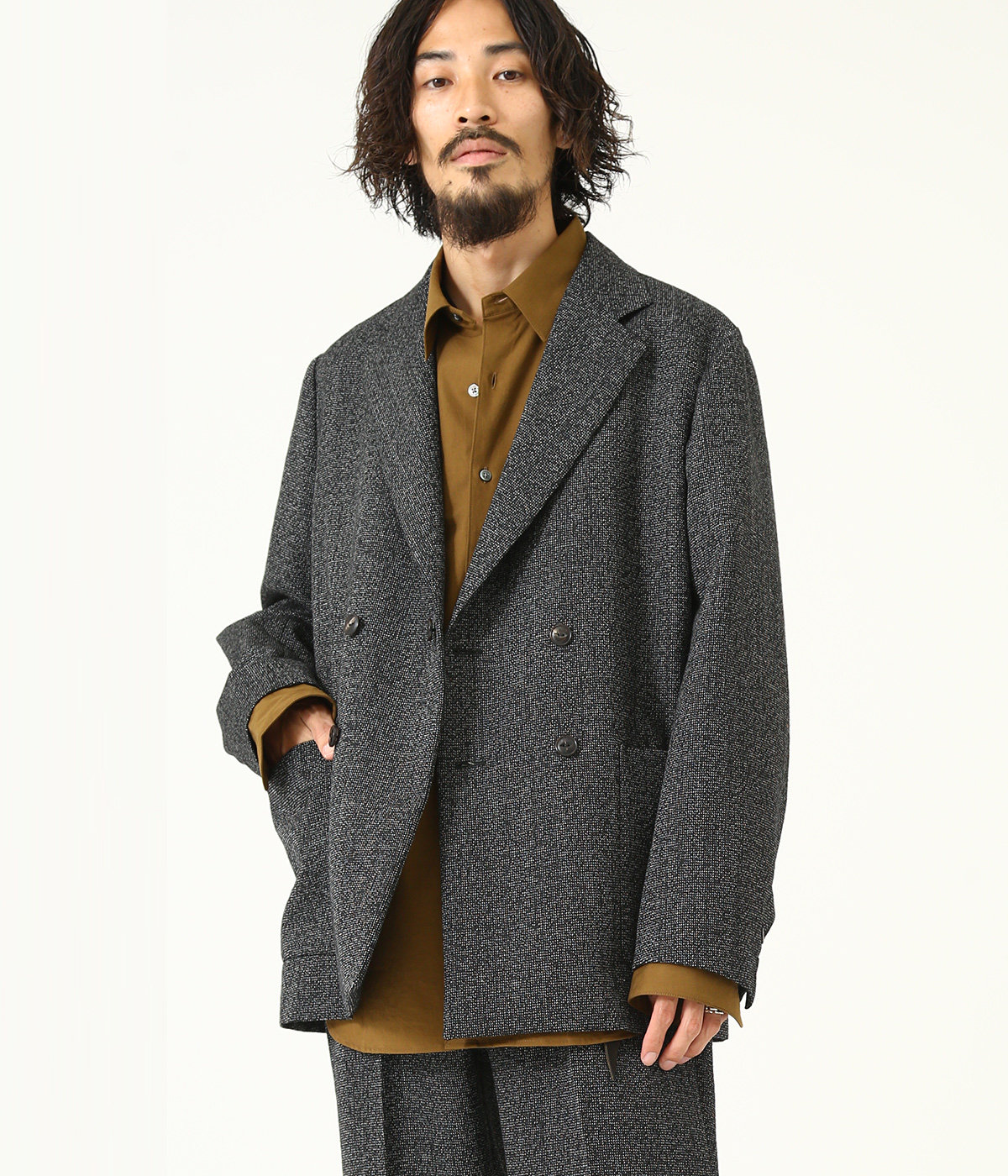 BLAZER -high count melange wool-