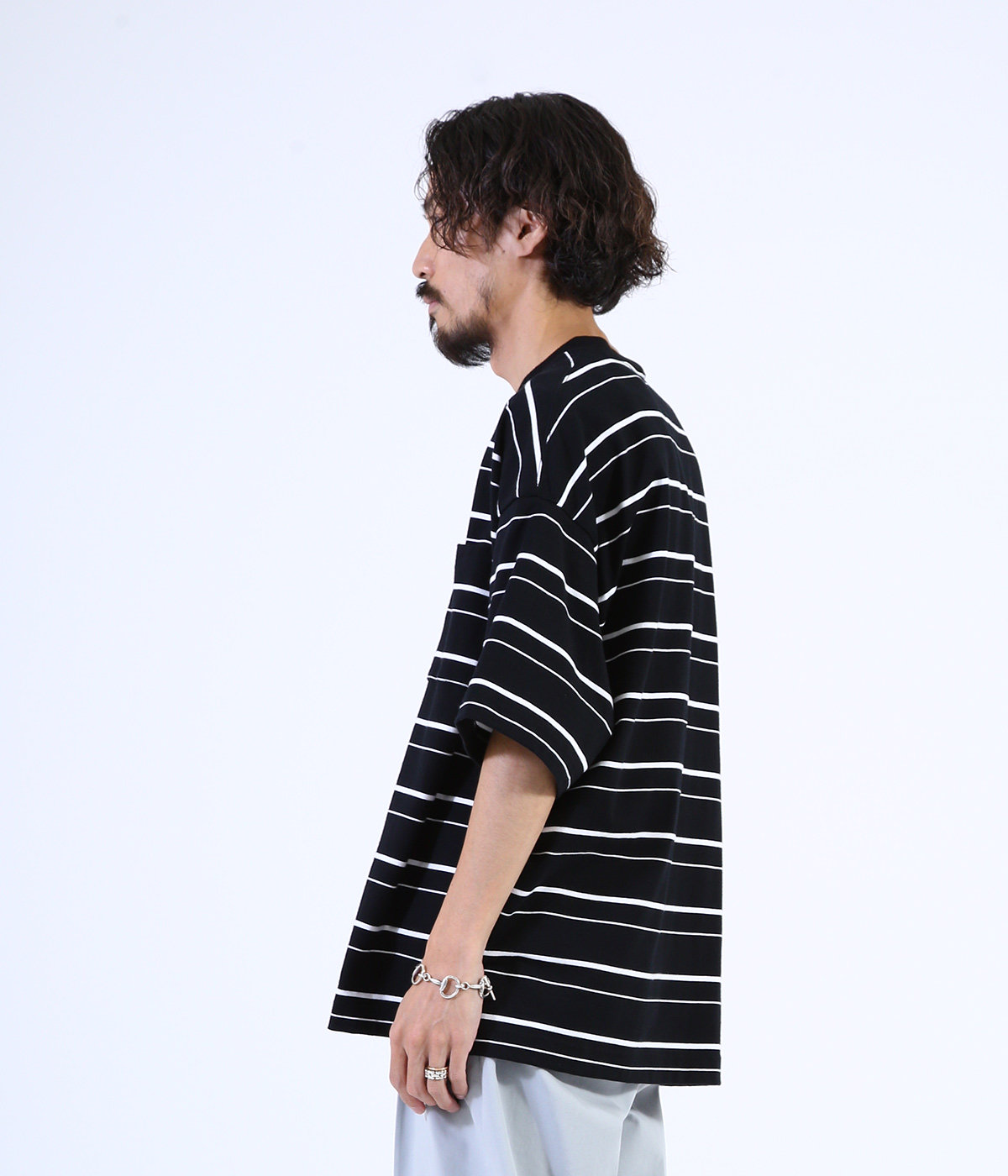BORDER TEE S/S - 30/2 combed knit border -
