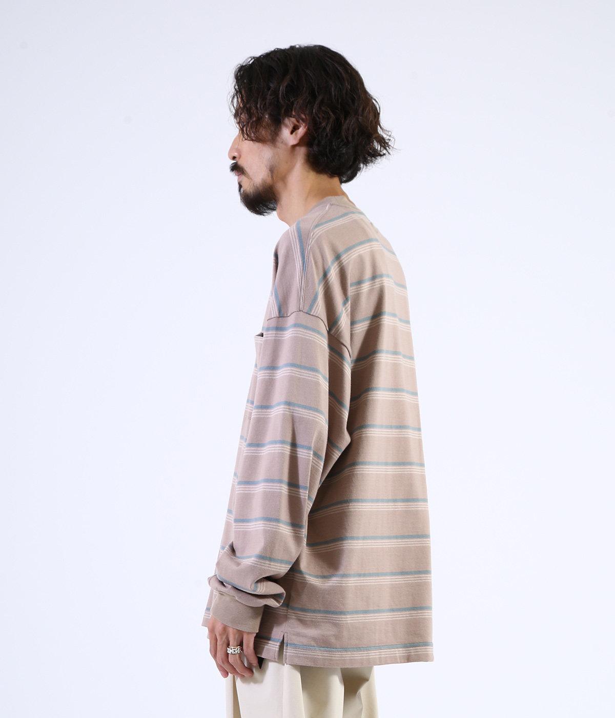 BORDER TEE L/S - 30/2 combed knit border -
