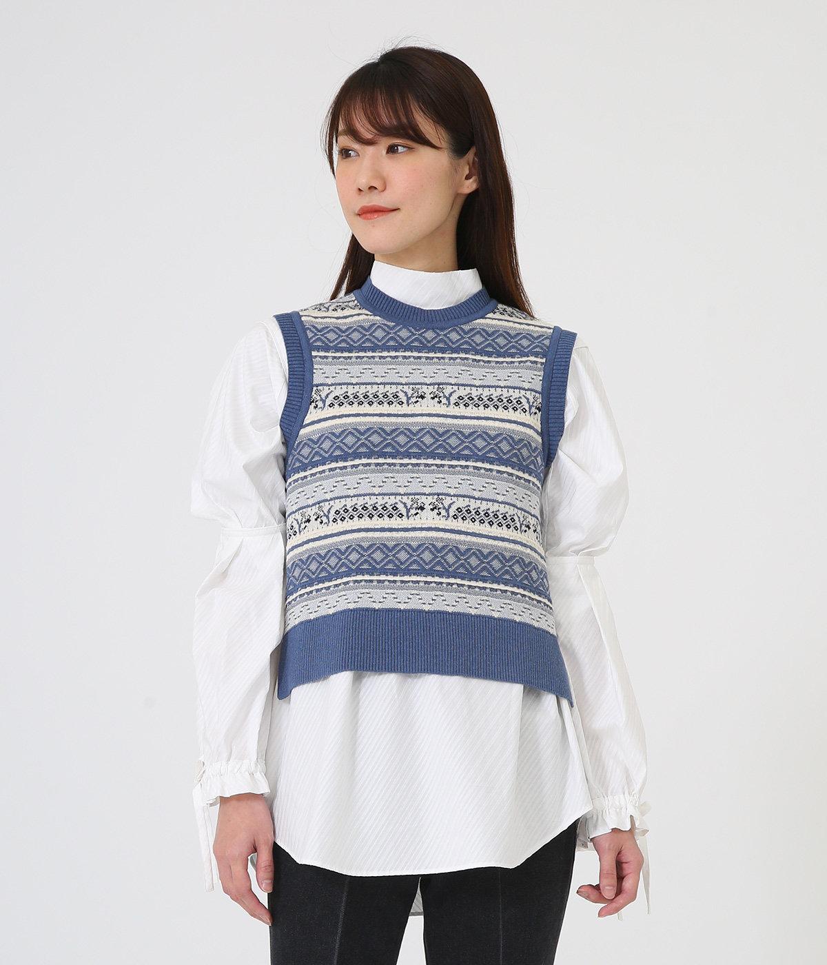 【レディース】Multi-Colour Jacquard Knit Vest