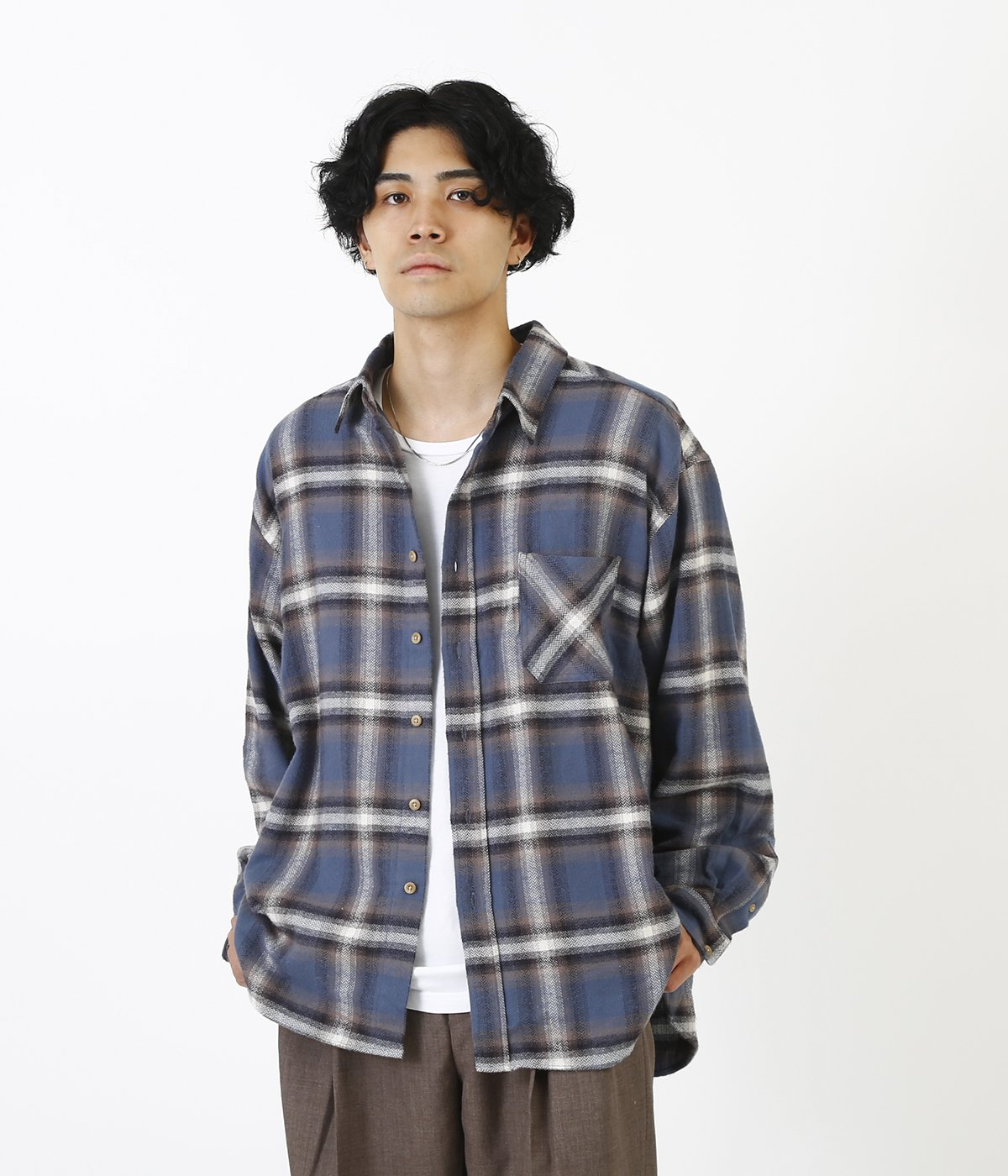 Over fit flannel shirt
