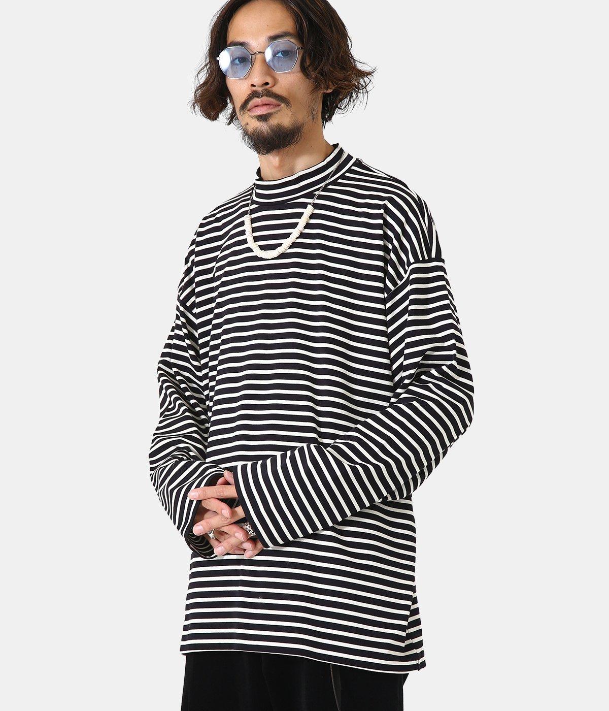 Mock neck Border LS T-shirt