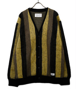 STRIPED MOHAIR CARDIGAN