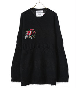Flower Cross Embroidery Border Knit