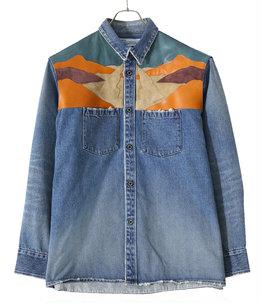 Leather Patch Work Denim Shirt