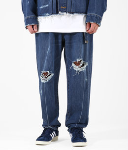 DAMEGED SILK DENIM PANTS