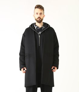WOOL CASHMERE NO COLLAR COAT