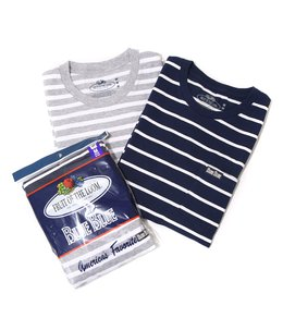 FRUIT OF THE LOOM BLUEBLUE BORDER CN 2PACK POCKET T NO.2