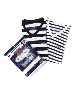 FRUIT OF THE LOOM BLUEBLUE BORDER VN 2PACK POCKET T NO.2