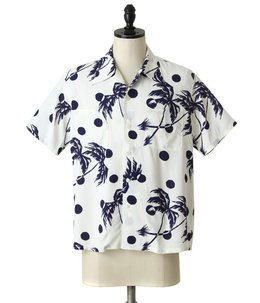 "S/S RAYON HAWAIIAN SHIRT ""MOONLIGHT PLAM TREE"""