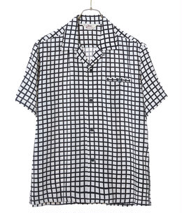 """SQUARE GRID"" H/D RAYON OPEN SHIRT"