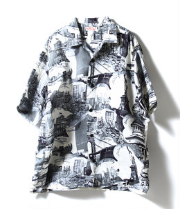 "S/S RAYON HAWAIIAN SHIRT ""BEST VIEW OF NEWYORK"""