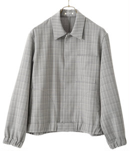 HARD TWIST WOOL DOUBLE FACE CHECK BLOUZON