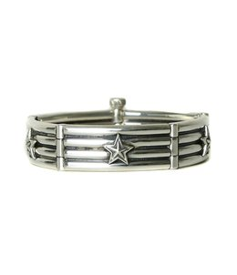 4 Row Wire Link with Stars Bracelet-カフ-