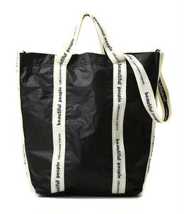 【レディース】sail cloth logo tape shoulder bag -Black-