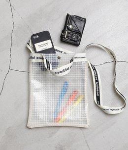 【レディース】plaid vinyl logo tape sacoshe bag