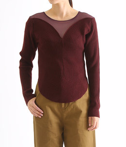 【レディース】round curve ribbed pullover with tulle-burgundy-