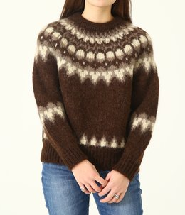 【レディース】MOHAIR NORDIC CREW NECK-BROWN-