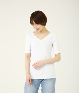 COMPACT WIDE RIB  V NECK T-SHIRTS
