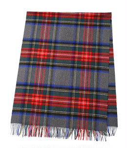 <CASHMERE TARTAN STOLES(190×70)>-GRAY GROUND STEWART-