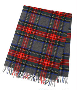 <LAMBSWOOL TARTAN STOLES(190×70)>-GREY GROUND STEWART-