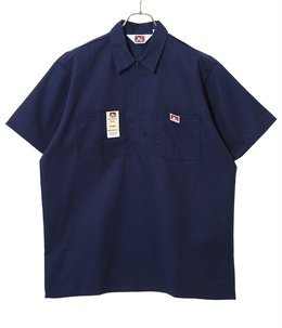 SOLID HALF ZIP S/S SHIRTS -NAVY-