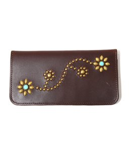 Turquoise Studs Flower LONG WALLET