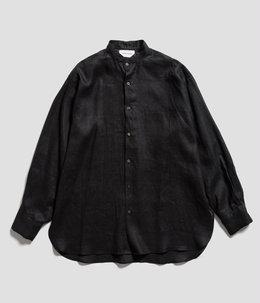 【予約】COMFORT FIT BAND COLLAR SHIRT - HEMP SHIRTING -