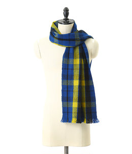 Gobi Plaid Scarf-Altai Blue + Sunflower Yellow + Black-