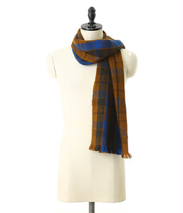 Gobi Plaid Scarf-Golden Brown + Earth Green + Altai Blue-
