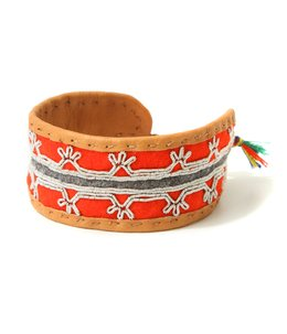 Medium Handmade pewterembroidered AUthentic Sami Bracelet -RED-