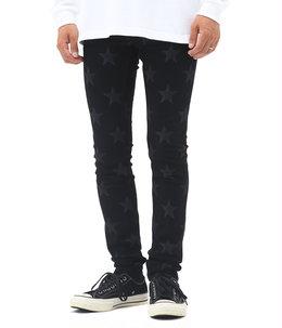 star patterned stretch slim tapered 6 pocket jean.