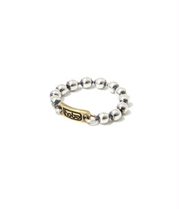 925 Silver Ball Chain Ring with Brass