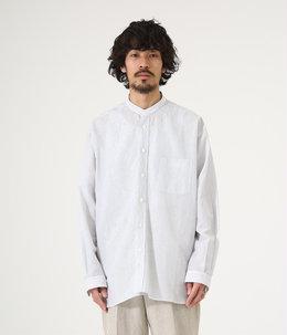 BAND COLLAR SHIRT - cotton linen stripe -