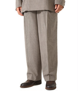 FIVE COLORS PLAID WOOL 1TUCK WIDE TROUSERS