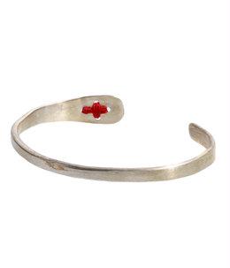 stitched cross silver bangle