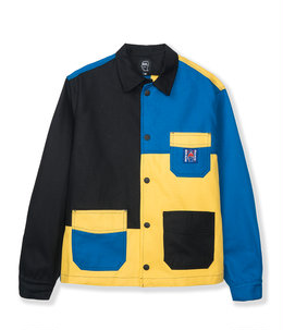 COLORBLOCKED CANVAS CHORE COAT