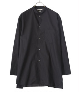 High Count Chambray Stand-up Collar Washed Shirt